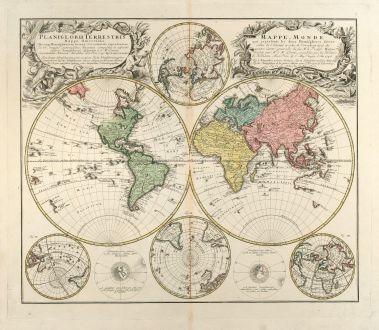 Antike Landkarten, Homann Erben, Weltkarte, 1746: Planiglobii Terrestris Mappa Universalis Utrumq Hemisphaerium Orient et Occidentale repraesentans, Erx IV mappis generalibus...