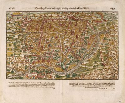 Antike Landkarten, Münster, Ägypten, Ägypten, Kairo, 1575: Warhaffte abcontrafehtung der machtigen und vesten Statt Alkair