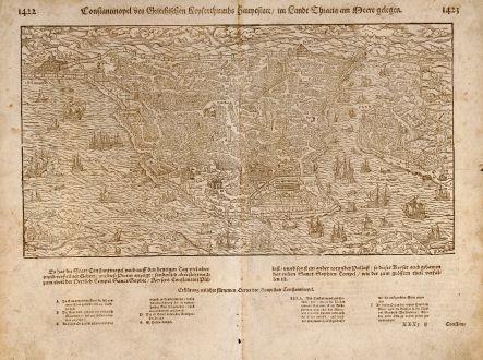 Antike Landkarten, Münster, Türkei, Konstantinopel, Istanbul, 1580: Constantinopel des Griechischen Keyserthumbs Hauptstatt, im Lande Thracia am Meere gelegen