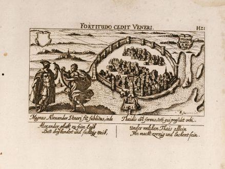 Antike Landkarten, Meissner, Griechenland, Chalkis, Euböa, Negroponte, 1638: Negroponte in Morea
