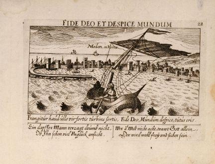 Antike Landkarten, Meissner, Griechenland, Methoni, Messenien, Peloponnes, 1638: Modon in Morea