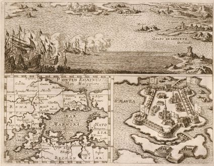 Antique Maps, Anonymous, Greece, Peloponnese, Lefkada, St. Maura, 1700: Golfo de Lepante, Mar de Marmora, S. Maura