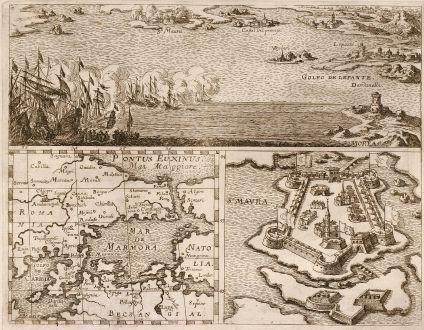 Antike Landkarten, Anonymous, Griechenland, Peloponnes, Lefkas, St. Maura, 1700: Golfo de Lepante, Mar de Marmora, S. Maura