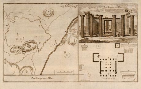 Antique Maps, Anonymous, Greece, Athens, Acropolis, 1750: Zeichnung von Athen / Ein Tempel zu Athen