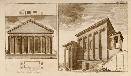 Books, Anonymous, Greece, Athens, Temple, 1750: Tempel der Minerva zu Athen / Der Tempel Erectheion zu Athen