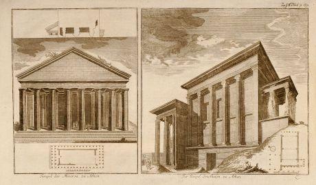 Bücher, Anonymous, Griechenland, Athen, Tempel, 1750: Tempel der Minerva zu Athen / Der Tempel Erectheion zu Athen