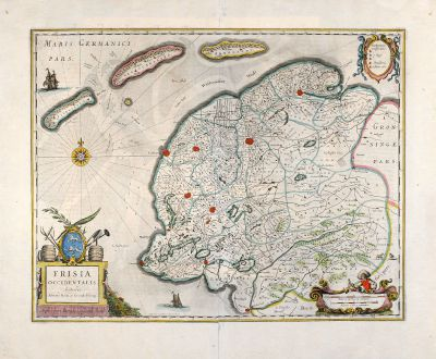 Antique Maps, Janssonius, Netherlands, Holland, Friesland, 1666: Frisia Occidentalis, Auctoribus Adriano Metio et Gerardo Freitag.
