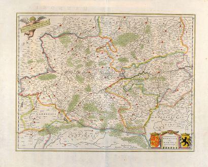 Antike Landkarten, Janssonius, Belgien, Belgien, Hennegau, Namur, 1636: Comitatuum Hannoniae et Namurci Descripto