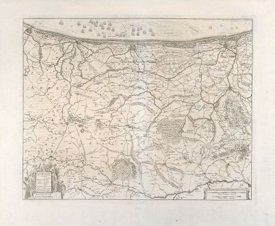 Antike Landkarten, Janssonius, Belgien, Belgien, Dünkirchen, Calais, 1647: Flandriae Pars Occidentalis