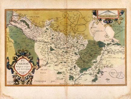 Antike Landkarten, Ortelius, Frankreich, Picardie, 1579: Picardiae, Belgicae regionis descriptio. Joanne Surhonio auctore.