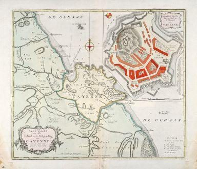 Antike Landkarten, Tirion, Südamerika, Französisch Guayana, Cayenne, 1765: Land-Kaart van het Eiland en de Volkplanting van Cayenne aan de Kust van Zuid-Amerika