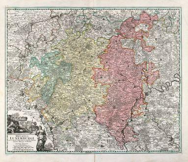 Antike Landkarten, Homann, Luxemburg, Luxemburg, 1720: Ducatus Luxemburgi tam in Maiores quam Minores ejusdem Ditiones accurate distinctus et exhibitus a Ioh. Bapt. Homanno...