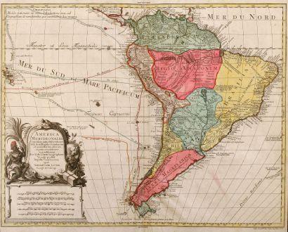 Antique Maps, Lotter, South America, 1770: America Meridionalis Concinnata juxta Observationes Dnn Acad