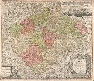 Antique Maps, Seutter, Czechia - Bohemia, Carlsbad, 1720: Bohemia Regnum juxta XII. Circulos divisum, cum Comitatu Glacensi et ditione Egrana, nec non confinibus Provinciis in mappa...