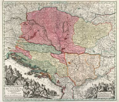 Antike Landkarten, Seutter, Balkan, Ungarn, Kroatien, Serbien, 1740: Nova et Accurata Hungariae cum adiacentib. Regn. et Principatibus Tabula