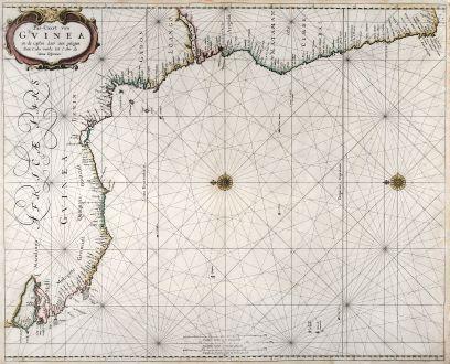 Antique Maps, Goos, Seachart, Southwest Africa, Guinea, Cape Town, 1666: Pas-Caart van Guinea en de Custen daer aen gelegen Van Cabo verde tot Cabo de Bona Esperanca