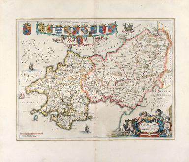 Antike Landkarten, Blaeu, Britische Inseln, Pembrokeshire, 1648: Penbrochia Comitatus et Comitatus Caermaridunum