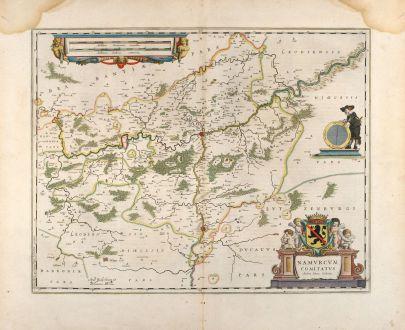 Antique Maps, Blaeu, Belgium, Namur, 1660: Namurcum comitatus Auctore Iohann Surhonio
