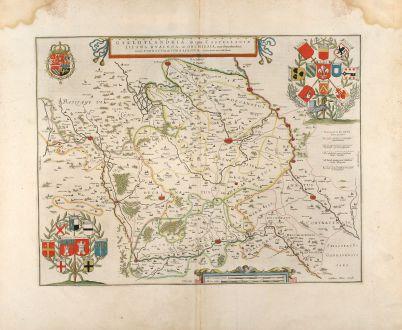 Antike Landkarten, Blaeu, Frankreich, Flandern, Lille, 1660: Galloflandria, in qua Castellaniae Lilana, Duacena, & Orchiesia, cum dependentibus