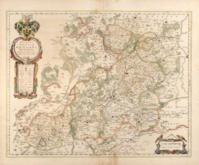 Antique Maps, Blaeu, Poland, Silesia, Glogow, 1650: Ducatus Silesiae Glogani Vera Delineatio
