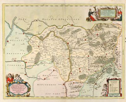 Antike Landkarten, Janssonius, Polen, Neisse, Grottkau, 1680: Ducatus Silesiae Grotganus cum Districtu Episcopali Nissensi Delineatore Iona Sculteto, Silesio.