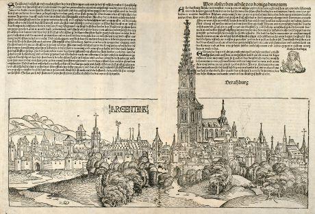 Antique Maps, Schedel, France, Strasbourg, Budapest, 1493: Argentina, Straßburg, Ofen