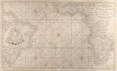Antique Maps, van Keulen, Atlantic Ocean, Sea Chart, Africa, South America: Nieuwe Wassende Graadige Pas-kaart van de Kust van Guinea en Brasilia strekkende van Cap-Verde tot de Cap de Bon-Esperance...