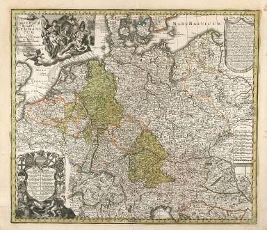 Antique Maps, Seutter, Germany, Central Europe, 1730: Imperium Romano-Germanicum in suos Circulos, Electorat et Status Summa cura et Studio divisum aeri insulpt et venale...