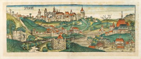 Antique Maps, Schedel, Czechia - Bohemia, Prague, Praha, 1493: Praga