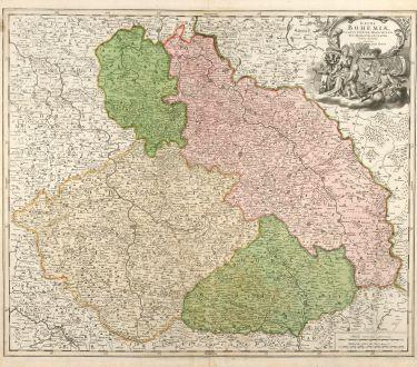 Antike Landkarten, Homann, Tschechien - Böhmen, Mähren, Schlesien, 1720: Regni Bohemiae, Ducatus Silesiae, Marchionatus Moraviae et Lusatiae. Tabula Generalis