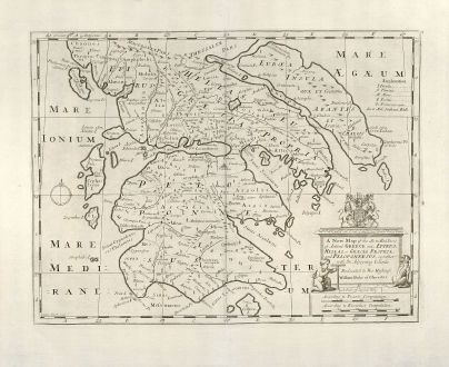 Antique Maps, Wells, Greece, 1700: A New Map of the So. & Mid. Parts of Antient Greece viz. Epirus, Hellas, or Graecia Propria, and Peloponnesus, together with...