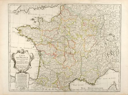 Antique Maps, de l Isle, France, 1731: Carte de France Dressée pour l'Usage du Roy en Avril 1721.