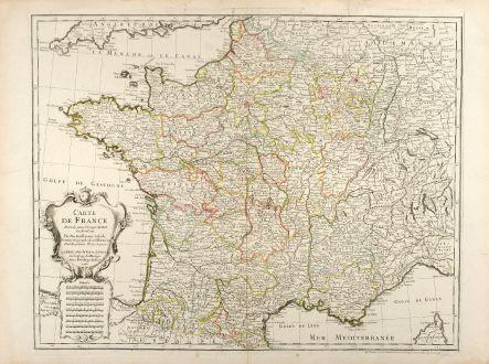 Antike Landkarten, de l Isle, Frankreich, 1731: Carte de France Dressée pour l'Usage du Roy en Avril 1721.