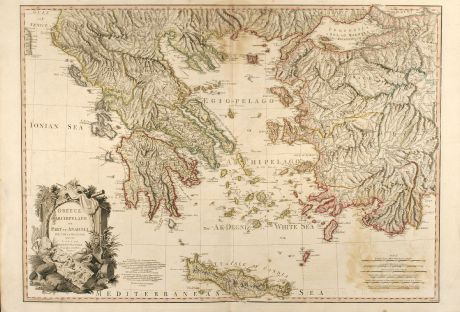 Antique Maps, Faden, Greece, Turkey, 1791: Greece. Archipelago and Part of Anadoli. By L.S. de la Rochette. MDCCXC. London, Published for Willm. Faden, Geographer to...