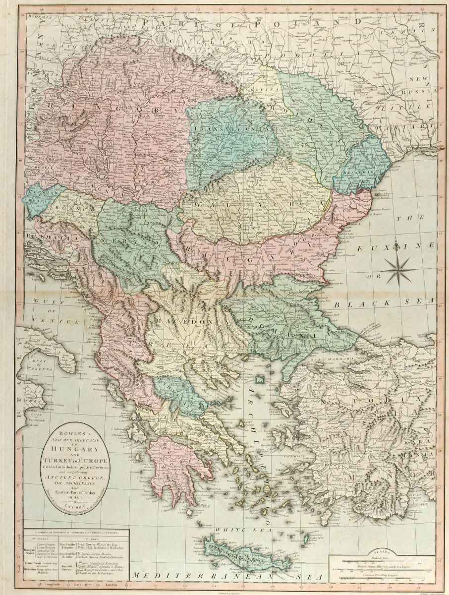 Bowles\'s New one-sheet Map of Hungary and Turkey in Europe ...