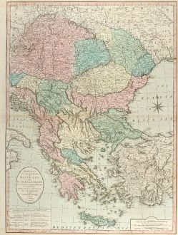 Antique Maps, Bowles and Carver, Balkan, Greece, Turkey, 1800: Bowles's New one-sheet Map of Hungary and Turkey in Europe divided into their respective Provinces and comprehending Ancient...