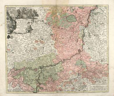 Antique Maps, Seutter, Belgium, Liege, 1730: L'Eveche et L'Etat de Liege Avec les appartenances designées dans les pais voisins Delineation nouvelle et exacte Aux...