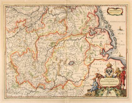 Antique Maps, Janssonius, Germany, North Rhein-Westphalia, Friesland, 1640: Circulus Westphalicus, Sive Germaniae Inferioris.