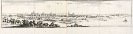 Antique Maps, Merian, France, Tours, 1657: Tours, Turonum