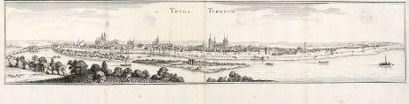 Antike Landkarten, Merian, Frankreich, Tours, 1657: Tours, Turonum