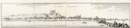 Antique Maps, Merian, France, Saumur, 1657: Saumur, Salmuria