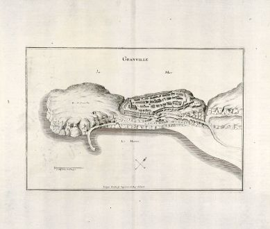Antike Landkarten, Merian, Frankreich, Granville, 1657: Granville