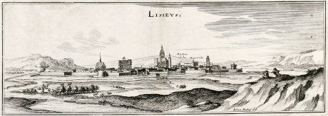 Antique Maps, Merian, France, Lisieux, 1657: Lisieus
