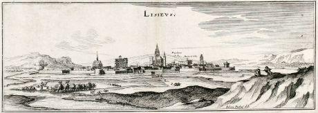 Antike Landkarten, Merian, Frankreich, Lisieux, 1657: Lisieus