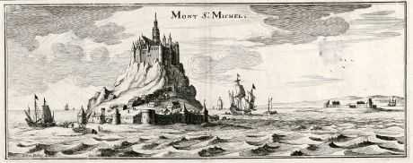 Antique Maps, Merian, France, Mont Saint-Michel, 1657: Mont St. Michel