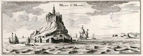 Antike Landkarten, Merian, Frankreich, Mont Saint-Michel, 1657: Mont St. Michel