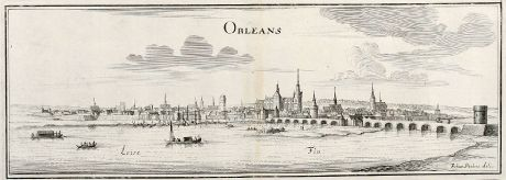 Antique Maps, Merian, France, Orleans, 1657: Orleans