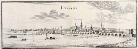 Antike Landkarten, Merian, Frankreich, Orleans, 1657: Orleans