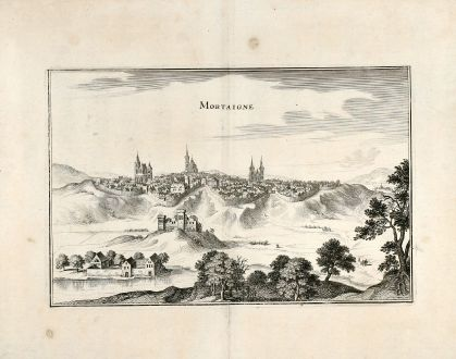 Antique Maps, Merian, France, Mortain, 1657: Mortaigne