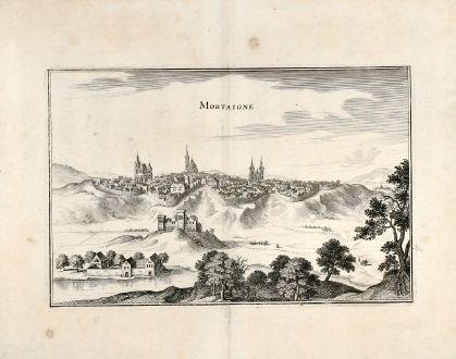 Antike Landkarten, Merian, Frankreich, Mortain, 1657: Mortaigne